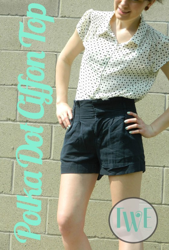 polka dot ciffon top